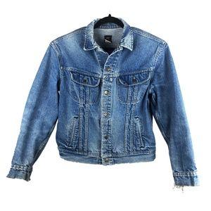 LEE Vintage Denim Distressed Mens Blue Jean Jacket